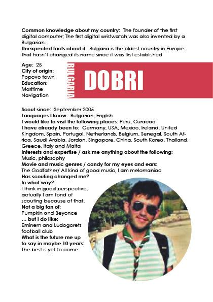 Scouting a path info booklet page 5 about the volunteers: Dobri, Bulgaria. November 2014