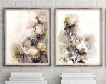 Afdrukken instellen voor abstracte Florals, aquarel schilderij Art Print, aquarel Print, Set van 2 stuks, aarde kleuren florals muur kunst, rustiek huisdecor