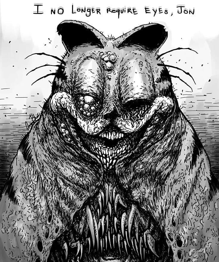 Creepy Garfield 1 By Omega Black Creepy Garfield Scary Art Creepy Art Horror Art