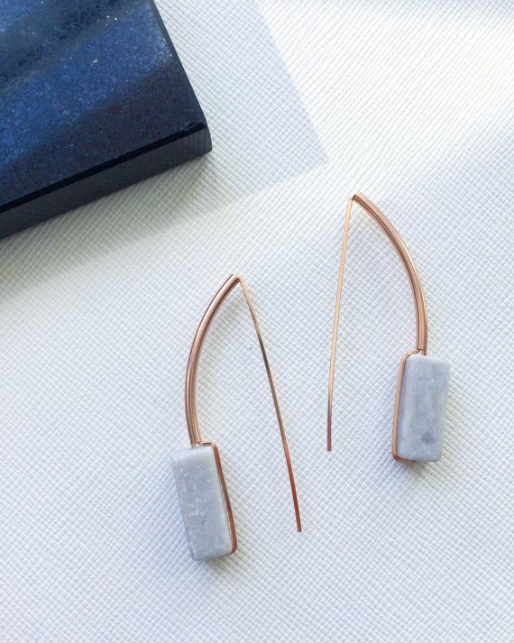 ACHILLE earrings - grey marble