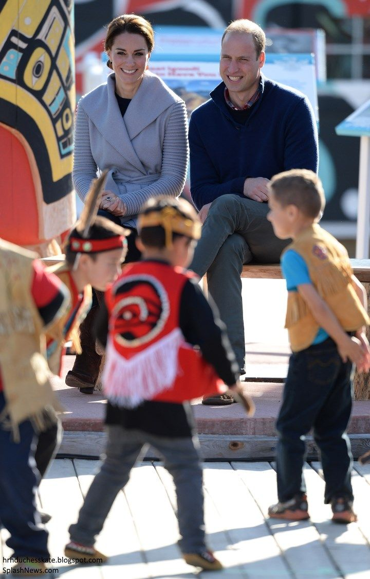 hrhduchesskate: Canada Tour, Day 5, Carcross, British Columbia, September 28, 2016-Duke and Duchess of Cambridge watch a welcome dance by the Dakhká Kjwáan Dancers