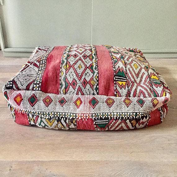 Vintage Moroccan Kilim Pouf From Morocco 60x60 24x24 Inches