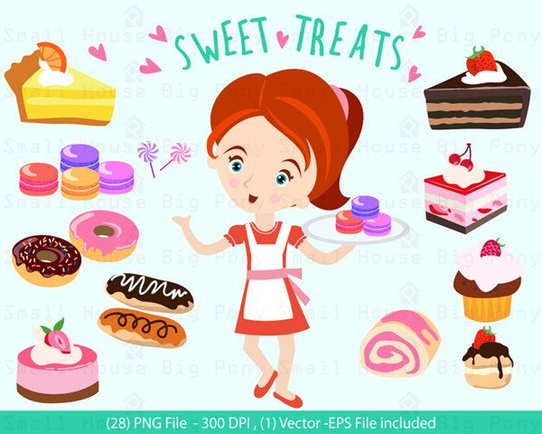 Digital Clipart - Girl with Sweet Treats Clip Art / Digital Clip art/ dessert clip art,  - Vector Clipart, Dessert Shop Clipart by SmallHouseBigPony on Etsy