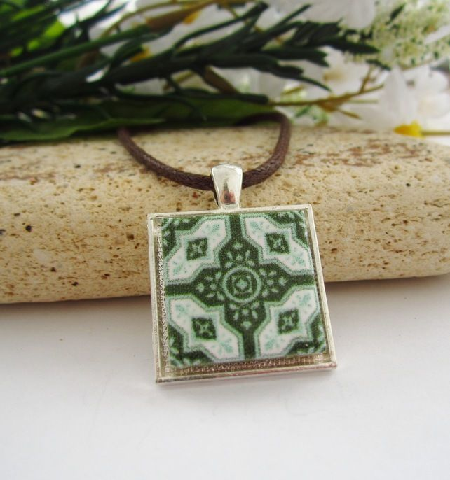 "GREEN MOSAIC TILE ceramic tile pendant 16-18"" brown cord silver necklace £6.50"