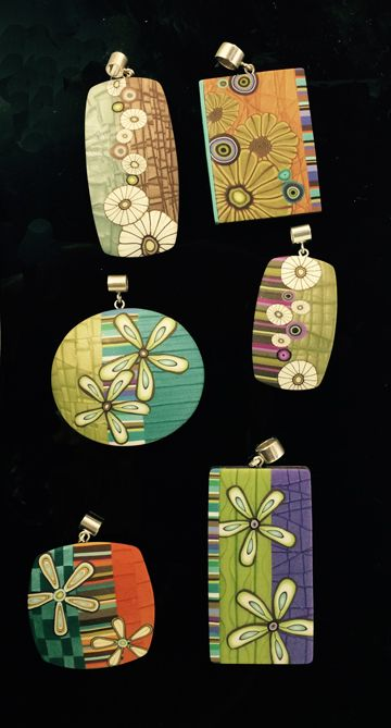 Meisha Barbee's workshop samples from Studio 215. Some lovely mica shift here. Made from polymer clay.