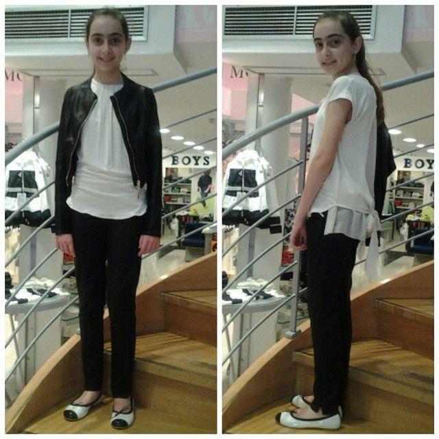 """Erika per la sua cresima ha optato per il look black&white, raffinato, """"da grande"""", sobrio e riportabile...il giubbino in ecopelle nero è il """"must have"""" della stagione!❤ #outfit #outfitoftheday #ragazzine #girls #fashion #fashionstyle #moda #modakids #cool #instamood #ootd  #cerimonie #cresime #biancoenero #black&white"""