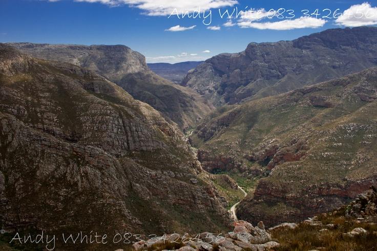 Swartberg mountains looking down at the Meiringspoort, Klein Karoo, ZA