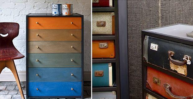 Trasformare le cassettiere con 5 idee di riciclo creativo e restyling per innovare gli arredi con carte per decoupage colori e tanta creatività.