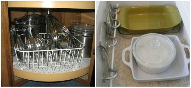 Storing the lids of various containers is often a complicated issue: they always spill out of the cupboards and take up a lot of space which could be used for more important things. Putting a drainage rack or a special bar in the drawer may help to organise these items more wisely.