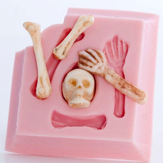 Skeleton fondant mold  skull and bones food mold  by MoldMeShapeMe, $8.00