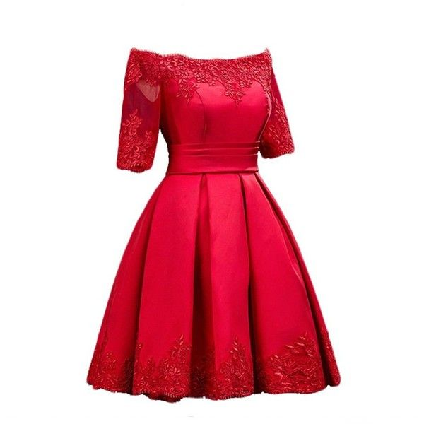 Women's Lace Sleeve Off Shoulder Appliques Swing Short Prom Cocktail... ($20) ❤ liked on Polyvore featuring dresses, red dress, off shoulder dress, short red dress, red off the shoulder dress and short cocktail dresses