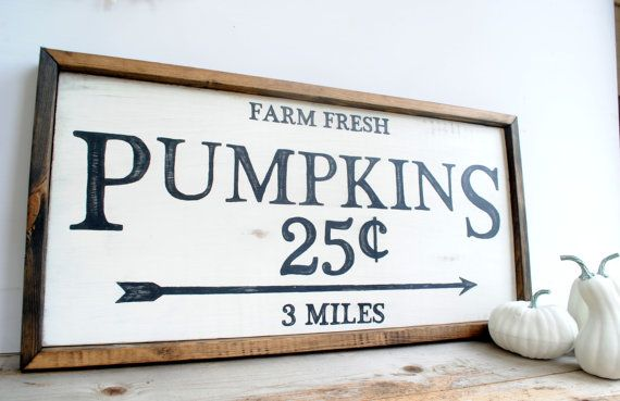Pumpkin Fall Farmhouse Style Home Decor Wood by TheRedbudStudio