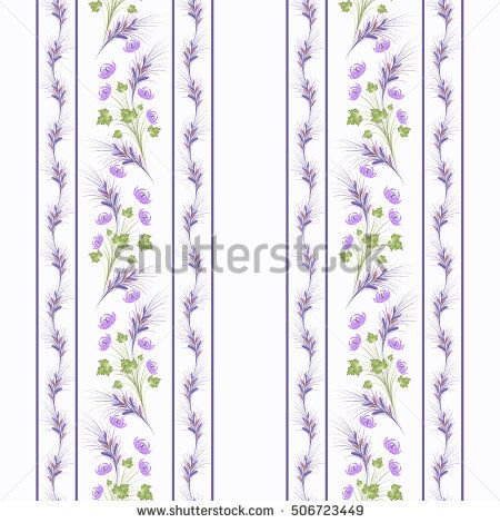 Floral seamless pattern , cute lilac flowers white background stripes. For printing on fabric and paper.