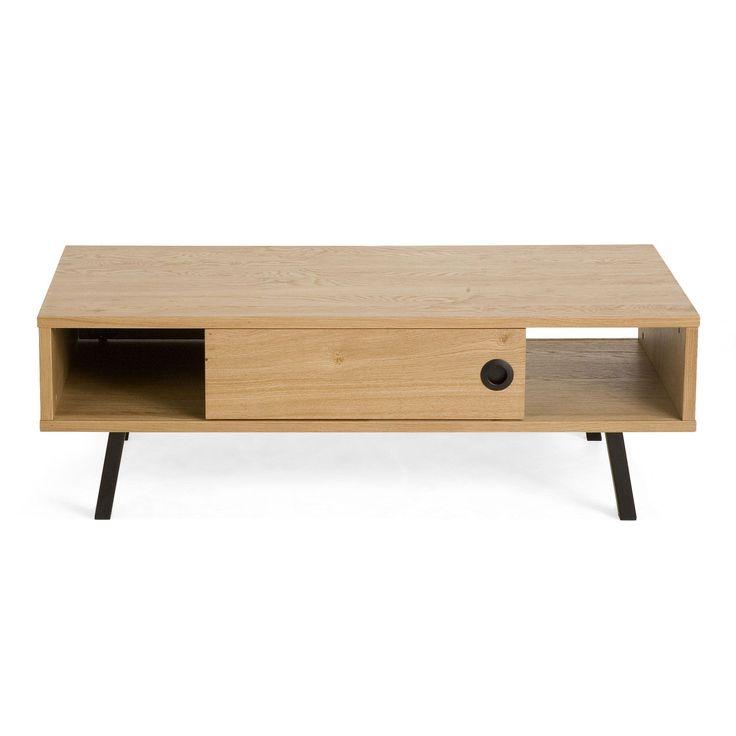 table basse en plaqu chne esprit rtro norway meuble les. Black Bedroom Furniture Sets. Home Design Ideas
