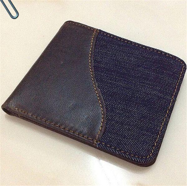 Cowhide leather wallets Men's wallet leisure brief paragraph Han edition wallet tide students fashion standard wallet boys blue