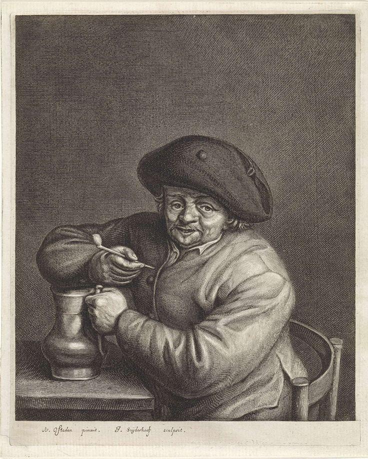 Boer met pijp en kruik in de hand bij een tafel, Jonas Suyderhoef, c. 1623 - 1686