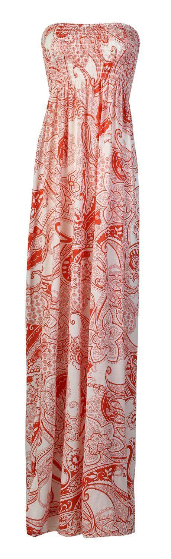 Fast Fashion Damen Blumendruck Boobtube Sheering Maxi-Kleid: Amazon.de: Bekleidung