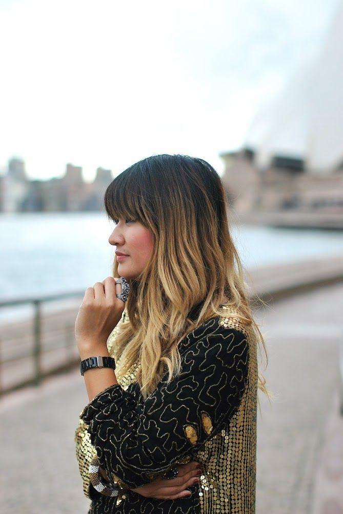 Balayage Dip Dyed Hair Bangs Fringe Brown Blonde In 2019