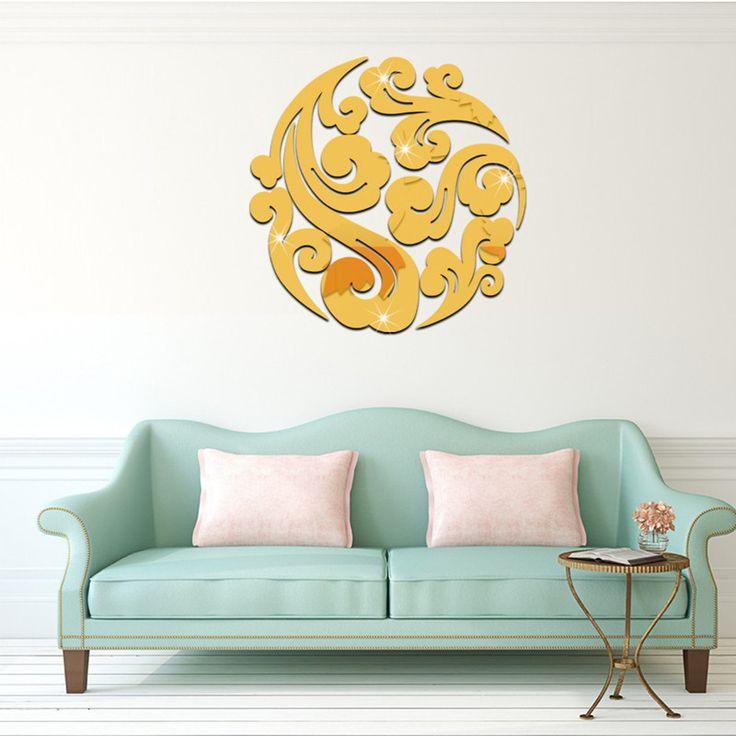 9 шт./компл. Diy Акриловое зеркало стены стикеры для Гостиной 3D Home Decor Съемные Отражающие Зеркала Декоративные Наклейки купить на AliExpress