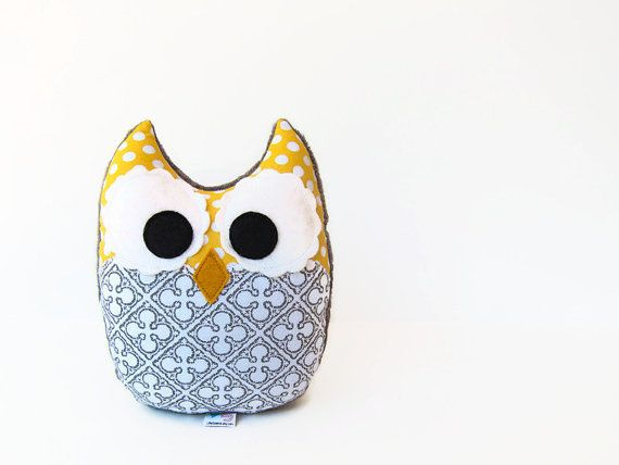 Owl Plush Mini Pillow Toy Minky Yellow Gray door LittleSidekick