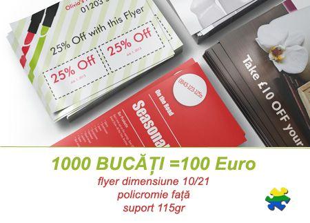 Cupoane de reduceri sau fluturași de informare doar 100 Euro - 1000 de bucăți!  www.iqtradmedia.ro