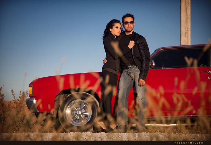 Engagement photos with the trans am, how cute!!  Definitely doing