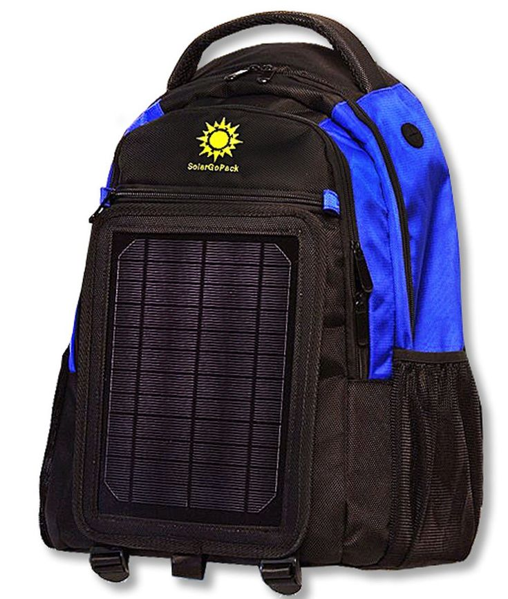 SolarGoPack solar powered backpack, charges mobile devices, 12k mAh Battery, Black
