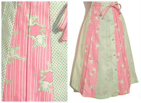 So cute and charming are the funny little leaping frogs featured on this vintage pink and green polka dot skirt with Frog Tog label by Julia Montgomery.    The whimsical novelty print skirt is comprised of a cotton or cotton blend fabric with button down front, draw string tie belt, and green polka dot panels alternating with pink and white panels of frolicking frogs.    The skirt has a label for A Julia Montgomery Frog Tog, and label for size Large.    Very good condition  clean, vibrant…