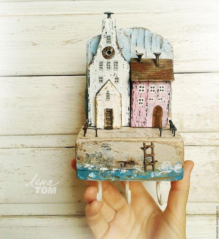 Купить Ключница/вешалка 'Старый город' домики у моря - белый, бирюзовый, домики, домик на море