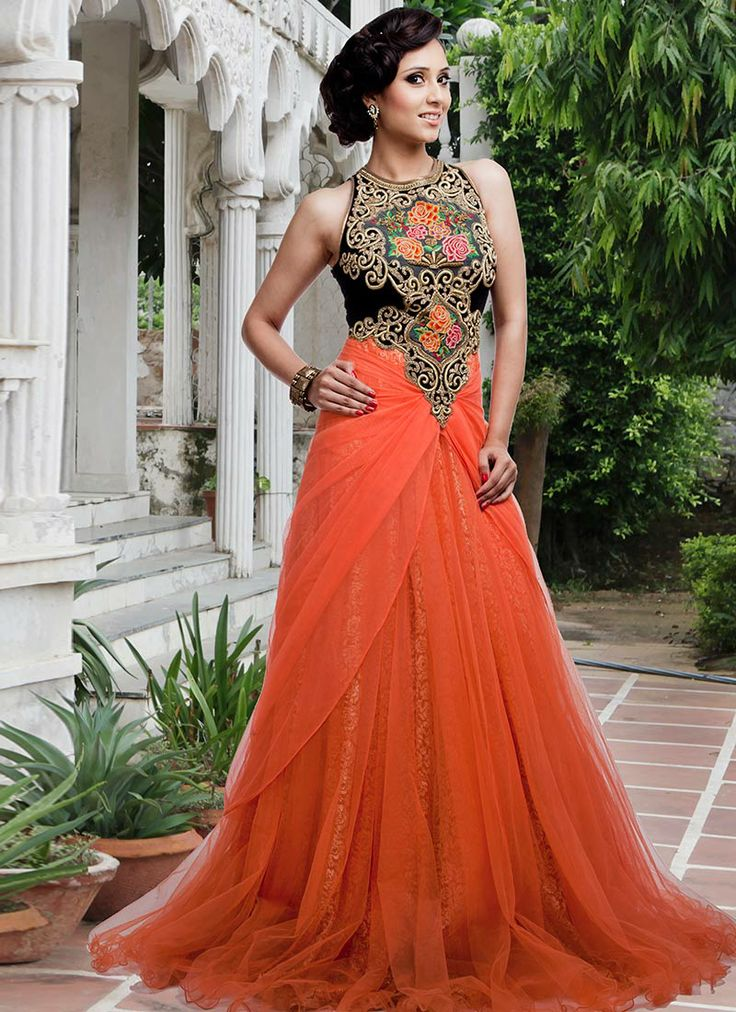 Orange Embroidered Net Gown Indian Designer Couture