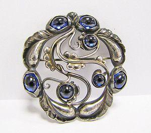 Georg Jensen Denmark Art Nouveau Sterling Silver Synthetic Sapphire Brooch