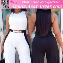 Plus Size Black White fitness Women Bodycon Jumpsuit with Belt Best Buy follow this link http://shopingayo.space