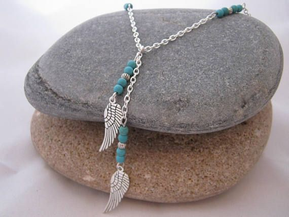 Turquoise Angel Wings Gemstone Y Necklace Bird Wing Necklace