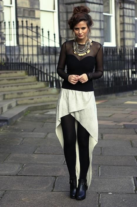 Good way to wear a Mullet Skirt in Winter.. tights with ankle booties!