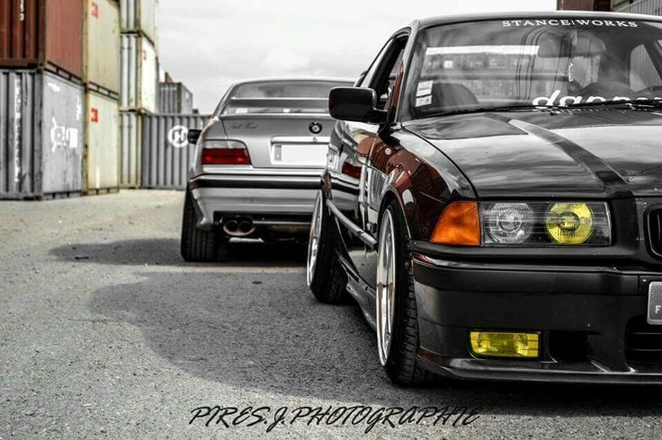 BMW E36 silver and black stanceworks dapper