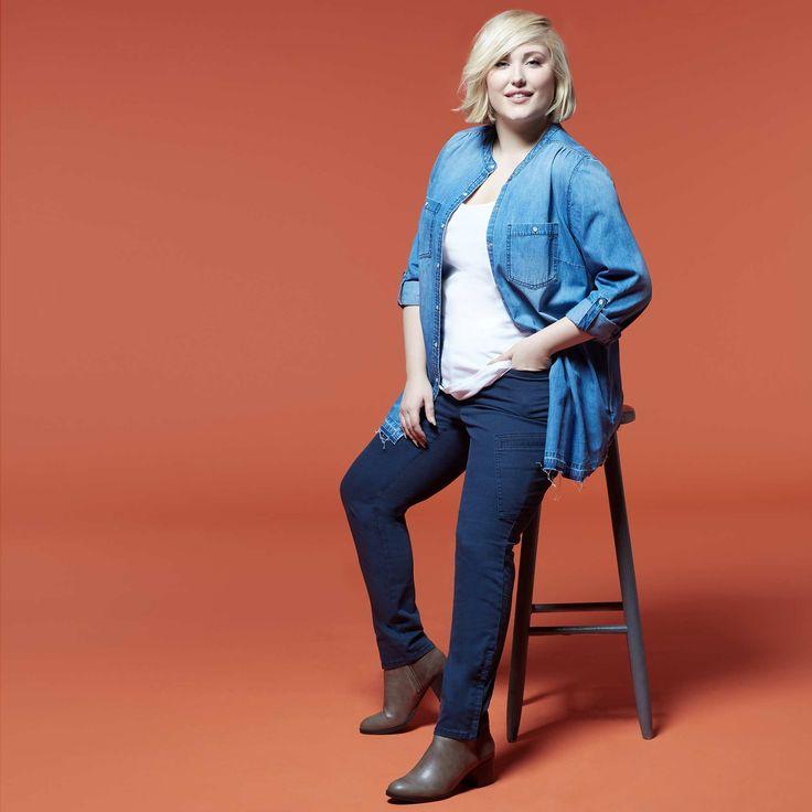 Pantalon skinny poches cargo                                          bleu marine Grande taille femme