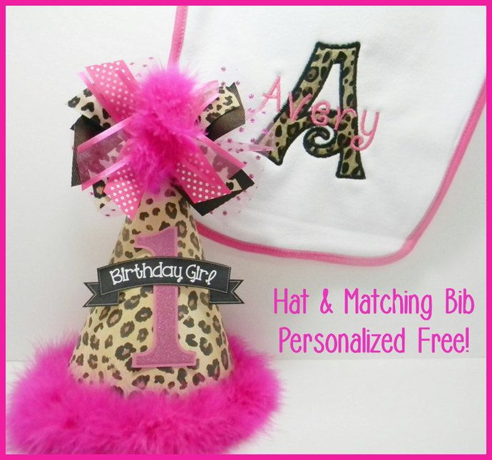 Personalized Cheetah Party Hat with matching Bib by DoodlesDotsnDimples, $29.50 USD