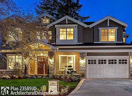 Option for Six Bedrooms - 23589JD | Craftsman, Northwest, Shingle, Photo Gallery, 2nd Floor Master Suite, Bonus Room, Butler Walk-in Pantry, CAD Available, Den-Office-Library-Study, In-Law Suite, Media-Game-Home Theater, PDF | Architectural Designs