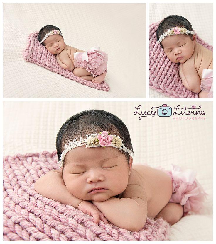 Soft pink soft purple baby girl baby photography newborn photography handmade
