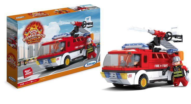 0260.9 - Blocos de Encaixe Bombeiros Resgate Terrestre   Contém 192 peças.   Faixa Etária: +6 anos   Jogos e Brinquedos   Xalingo Brinquedos   Crianças