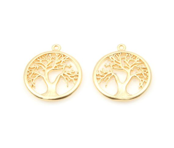 Winter Tree In Circle Charm in Matte Gold   - Matte Gold Plated (Tarnish Resistant) - Brass / 16mm  - 2pcs / 1pack #tree #treependant #roundtree #treejewelry