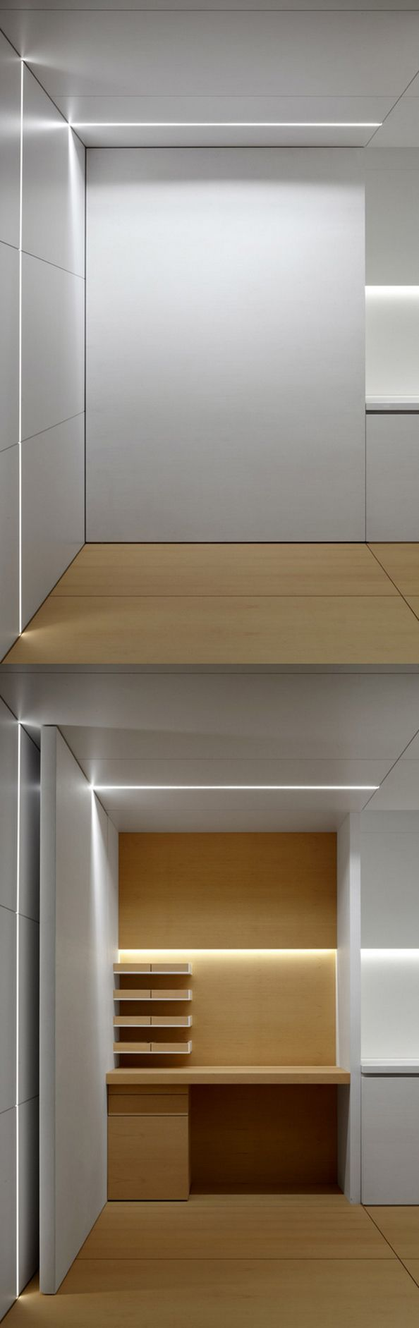 Large door hiding cupboard inside the Minus showroom kitchen at the Interieur 2012 fair.