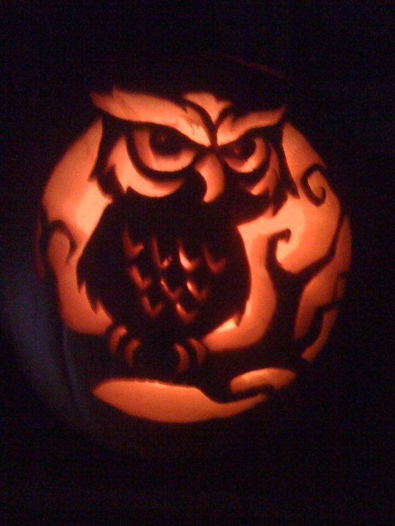 Halloween decorations foam carved pumpkins in spooky for Spooky owl pumpkin stencil