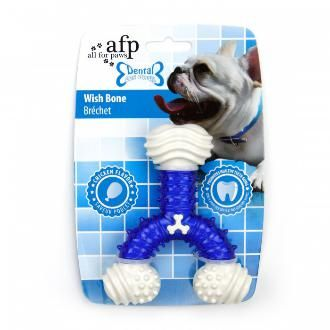 All For Paws Dental Wish Bone Dog Toy. The thermal plastic rubber molded plastic construction ensures durability. The small bumps on the surface also help cleaning teeth and gums as your dog chews.
