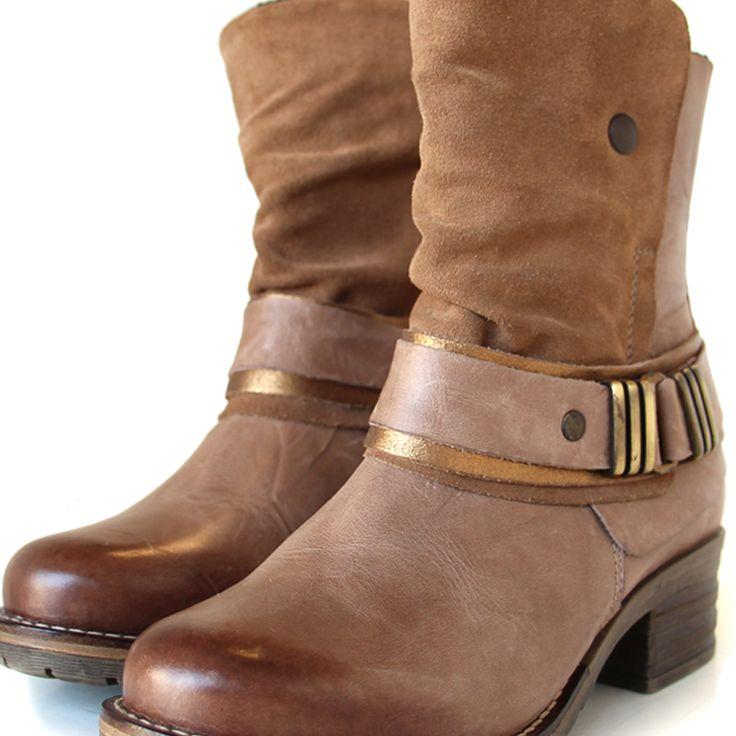 Dromedaris - Kikka Taupe - Short padded comfort boot with inside zipper,  with soft waxy