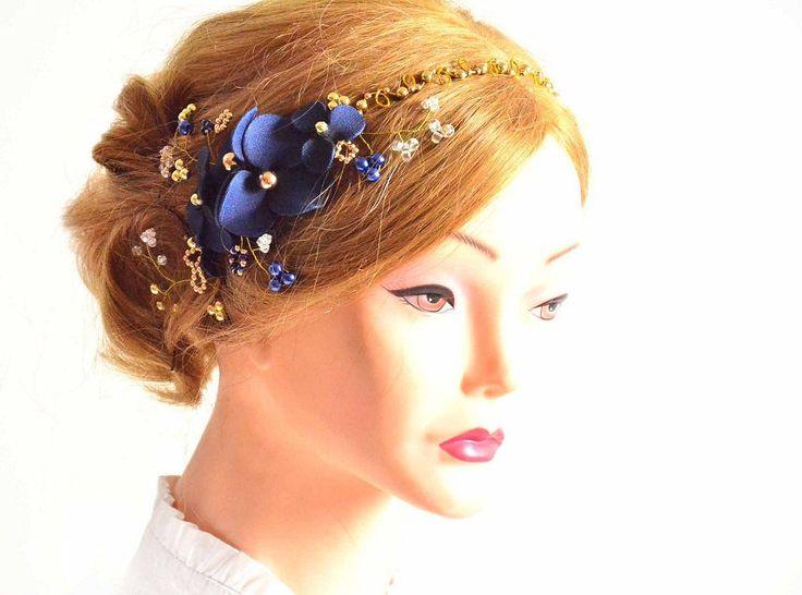 Copricapo Blu Navy copricapo blu e oro perla copricapo