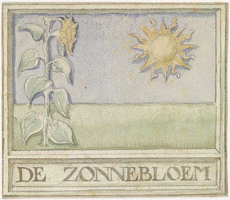 Ontwerp voor vignet met zonnebloem en zon, Antoon Derkinderen, 1869 - 1925