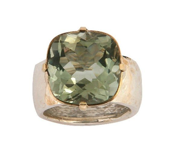 solid 925 Sterling SILVER Ring Unique Rings Green AMETHYST Solitaire Gemstone
