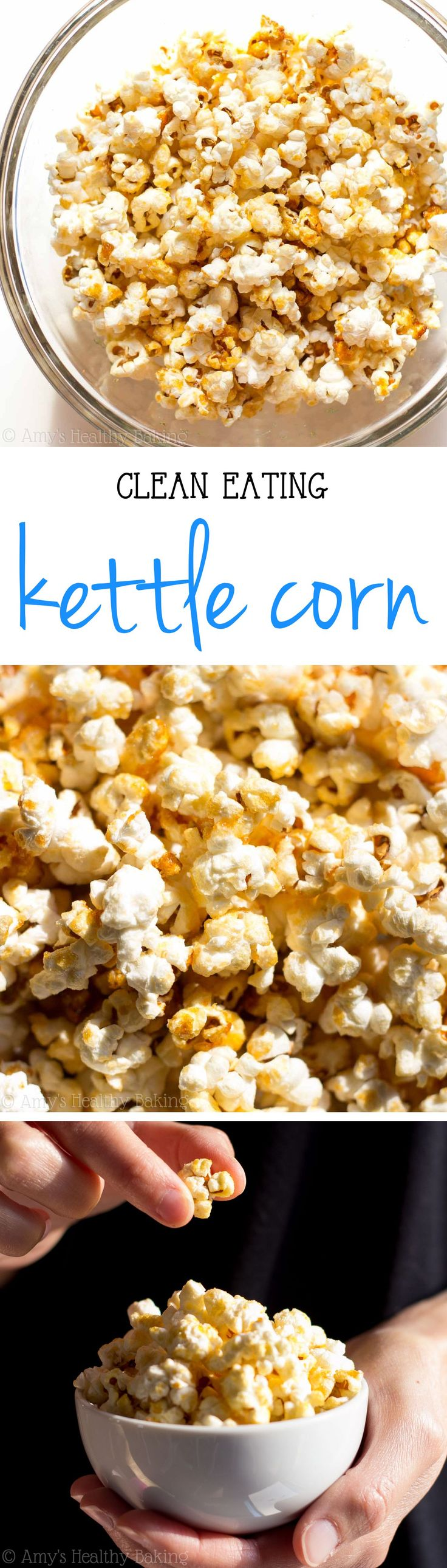 Skinny & Clean-Eating Kettle Corn -- you only need 4 ingredients & 15 minutes to make this easy treat at home! Barely 130 calories in each HUGE serving!