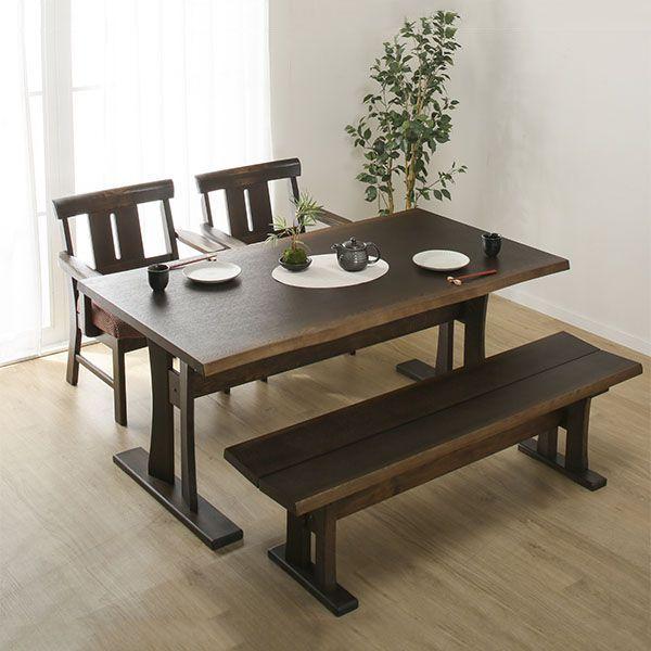 天然木和風ダイニングテーブルセット(ヤマト4/ヤマト2/ヤマトベンチ ...